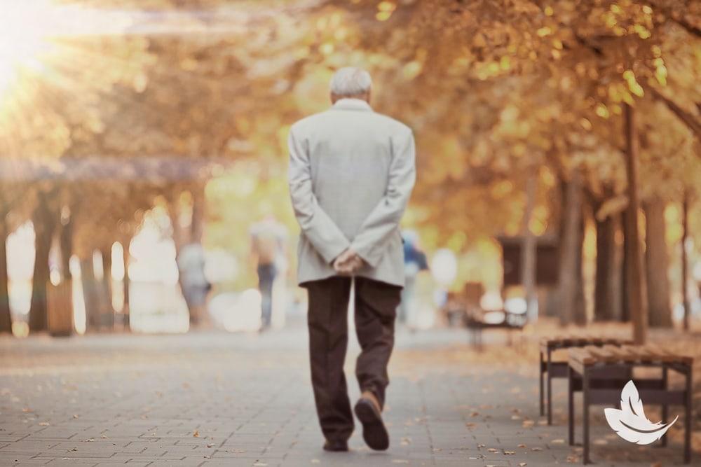 Mature man walking in a park